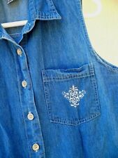 Vtg 90S L Denim Sleeveless L Shirt Embroidered Pocket Emblem Blouse Women Tails