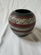 """Navajo Pot, Black w/carved design, red lines, 6"""" tall, 6"""" wide Signed"""