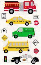 Mrs. Grossman's Giant Stickers - Vehicles - Taxi, Bus, Firetruck - 2 Strips