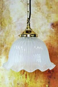 Ceiling Light A Vintage Holophane Style Glass Pendant + Brass Gallery & Fittings