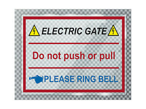 A017 ELECTRIC GATE PLEASE RING BELL Left ACRYLIC Plaque Sign Door House Office