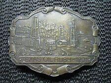 HUGHES CRUDE OIL TEXAS OIL RUSH OF 1901 BELT BUCKLE! VINTAGE! RARE! IMC! 1970s!