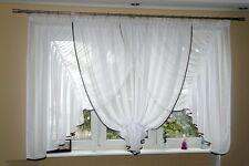 AG13 moderne Rideau prêt à poser en voile Beau rideau blanc marron blanc fenêtre