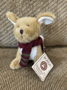 Boyds Bears THE HEAD BEAN COLLECTION Brown PUPPY DOG With Scarf Tags RARE