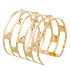 Fashion Women Gold Cuff Hollow Rivets Wide Bangle Bracelet Wristband Jewelry