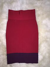 Women's Express Red Purple Color Block Bandage Pencil Bodycon Stretch Skirt XS