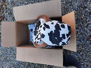 Cow Footstool Ottoman Cushion Padded Upholstered Stool Pouffe Footrest Seat Kids