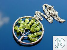 Handmade Tsavorite Tree of Life Natural Gemstone Pendant Necklace 50cm Healing