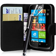 PU LEATHER BLACK WALLET CASE POUCH COVER FOR NOKIA LUMIA 610 MOBILE PHONE