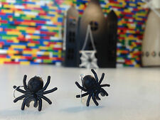 Handmade MonkiStuff Spider Earrings BlackSilver made from LEGO® Bricks Halloween