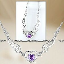 Angel Wings Heart Necklace Xmas Jewellery Silver Gifts for Women Mum Girls U4