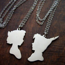 Disney couple Peter pan and Wendy pendant in white bronze  handmade