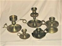 Brass Chamber Candle Holders Vintage Lot Of 5 w/ Finger Loops & Patina