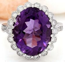 12.02CTW NATURAL AMETHYST AND DIAMOND RING IN 14K WHITE GOLD