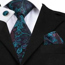 Classic Peacock Blue Tie Green Silk Mens Necktie Set Jacquard Woven Wedding C612