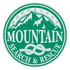 Mountain Search & Rescue Large Round Green on White Reflective Decal Sticker