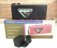 Vintage Helix Portable AM/FM Radio Cassette Recorder HX-2408 D06-10