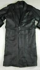 PELLE MODA Heavy Black Leather Trench Coat MENS SIZE MEDIUM