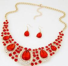CHUNKY GOLD TONE RED  ENCRUSTED DIAMANTE CRYSTALTEAR DROP NECKLACE & EARRING SET