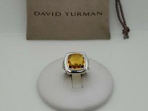 David Yurman Sterling Silver Albion 14mm Citrine Ring Size 7.75