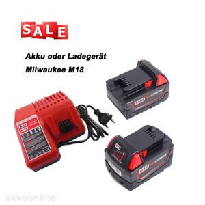 18V 5Ah-9Ah Für Milwaukee M18 Akku M18B9 M18B5 M18B4 oder M12-18FC Ladegerät Red