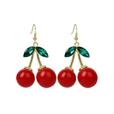 1pair Fashion Women Cherry Rhinestone Drop Dangle Ear Hook Earrings Jewelry Gift