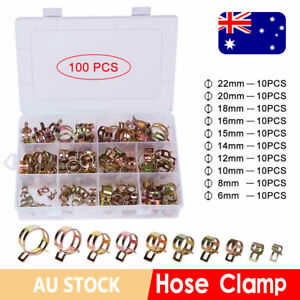 100x Vacuum Hose Clamps Stainless Steel Clip Adjustable Fuel Hose Line 6mm-22mm