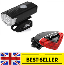 front USB led + rear 5 led triangle light set -mini bright lights flash bike UK