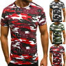 Fashion Men Muscle T-Shirt Slim Casual Fit Short Sleeve Camouflage Blouse Tops
