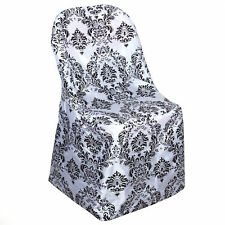 Black White FLOCKING Folding CHAIR COVER Wedding Party TradeShow Decorations