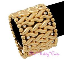 Unusual Matt Gold Plt 'Plaited' S Wide Stretch Bangle Cuff w/ Swarovski Crystals