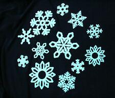12 GLOW IN THE DARK SELF ADHESIVE SNOWFLAKES KIDS ROOM NURSERY WALL STICKERS
