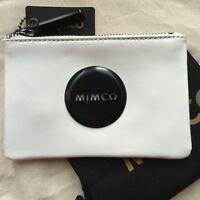 FREE POST MIMCO WHITE BLACK MIM POUCH SMALL WALLET MATTE BADGE LEATHER RRP69.95