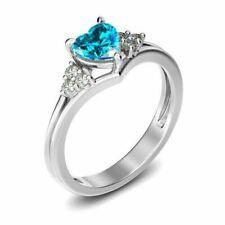 1/4 Ct Round Cut Aquamarine Heart Promise Ring 14k White Gold Over