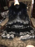 yigal azrouel Silver Fox Dyed By Bath Sleeveless Jacket Size Extra Small
