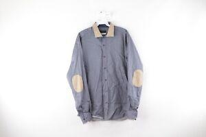 Emanuelle Khanh Mens XL Suede Leather Elbow Patch Geometric Dress Shirt Blue