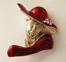 Red Hat Lady Pin / Gold-tone w Pink Crystal Flower / Elegant Design