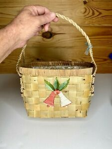 "VTG Rope Handle Basket w-Hand Stitched Bells - 14"" Tall/ Home Decor"