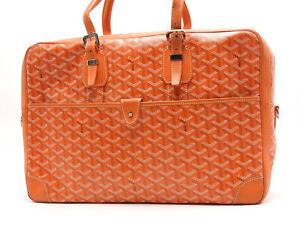 Auth GOYARD AMBASSADE MM Business Bag Brief Case PVC Leather Orange Silver V5896