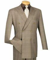 Men's Wedding Plaid Double Breasted 6 Button Classic Fit Suit 2 Pcs Jacket+Pant