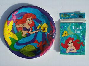 """LITTLE MERMAID Ariel & Friends Party Lot (8)- 9"""" Plates & Cards L1183P9"""