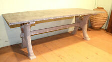 Reclaimed Antique Distressed Pine Table Base With Zinc Table Top - Warwick Rec