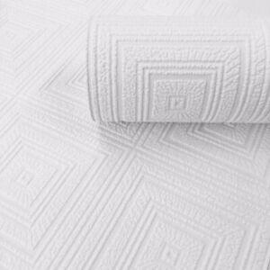 AS Square Geometric Design White Blown Paintable Wallpaper 6640-13