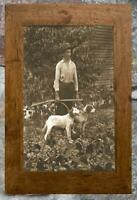 Fantastic... Man Posing with Hunting Dogs ... Antique 5x7 Photo Print