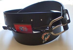 VINTAGE MIAMI DOLPHINS SOLID LEATHER BELT WITH SNAPS/REMOVABLE BUCKLE SIZE 34
