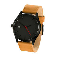 New Fashion Mens Analog Sport Wrist Stainless Steel Case Quartz Leather Watch