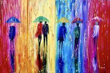 Multi panels rain paintings, modern rain paintings, umbrellas painting, 4 panels