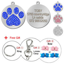 Bling Rhinestone Personalized Dog ID Tags Round Pet Name Disc Engraved Free Gift