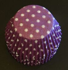 50 Purple & White POLKADOT Cupcake Liners Baking Cups STANDARD SIZE BC-20-50 NEW