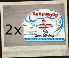 2x pezzi Lakewood Cycle SURF SHOP Sticker Adesivo surfing Aircooled Hot Rod